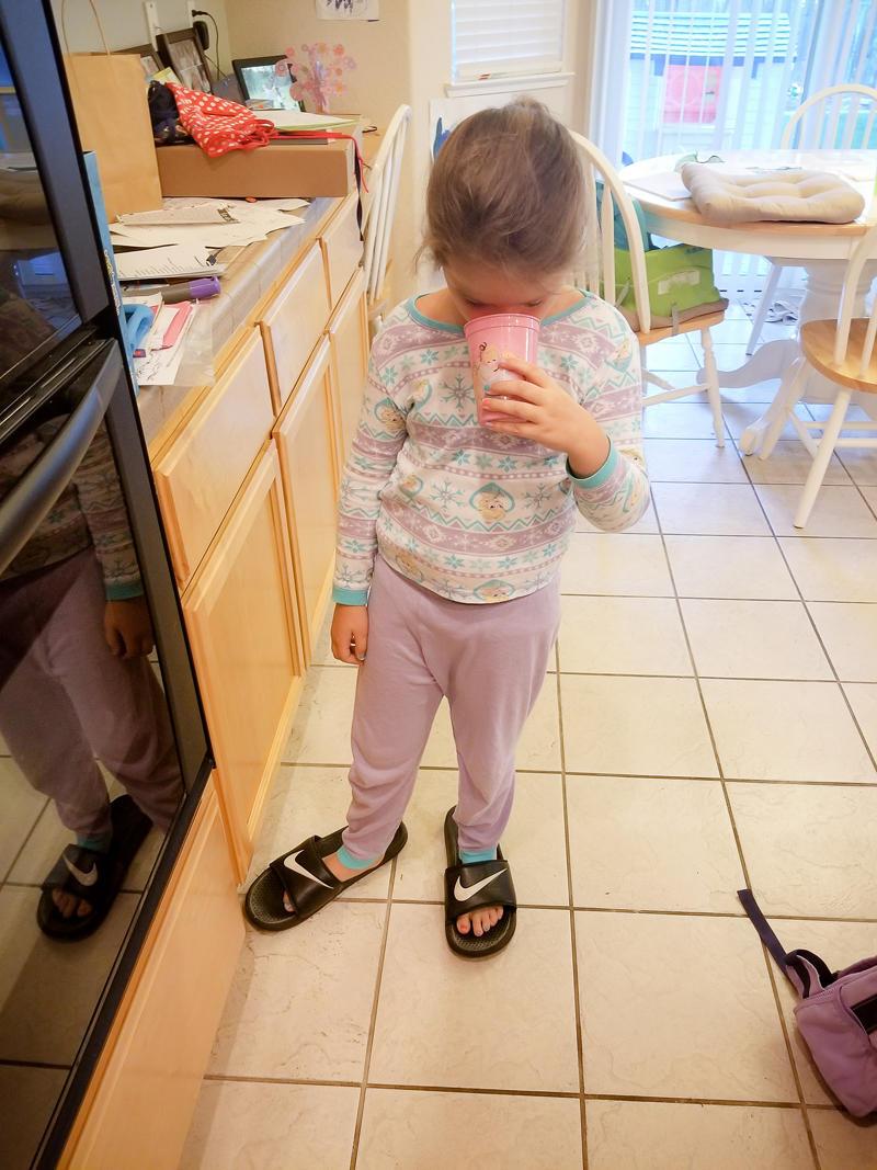 Wearing Dad's Sandals