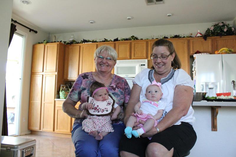 Abby and Gabby with their Grandmas
